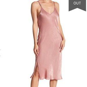 Midnight Bakery Mauve Rose Satin Slip Midi Dress!
